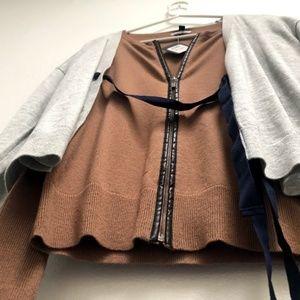 J. Crew Brown Gray Zip-Front Cardigan Top